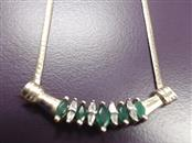 """16"""" Emerald Stone Necklace 10K Yellow Gold 5.11g"""